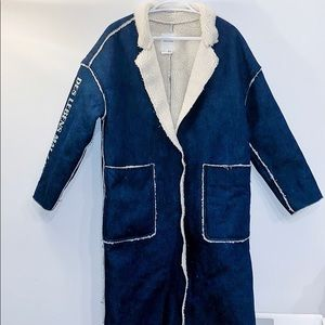 🔥SALE - NWOT Basic House Long Sherpa Denim Jacket